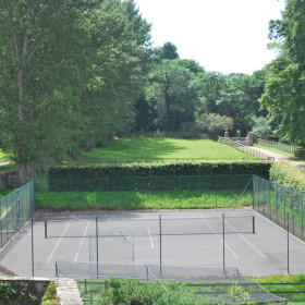Pool, tennis court and gardens